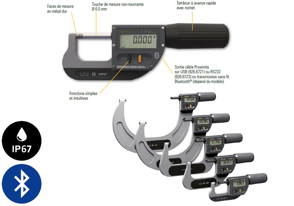 Micromètre professionnel Sylvac modèle S_Mike Pro Cylindrique Ø6,5