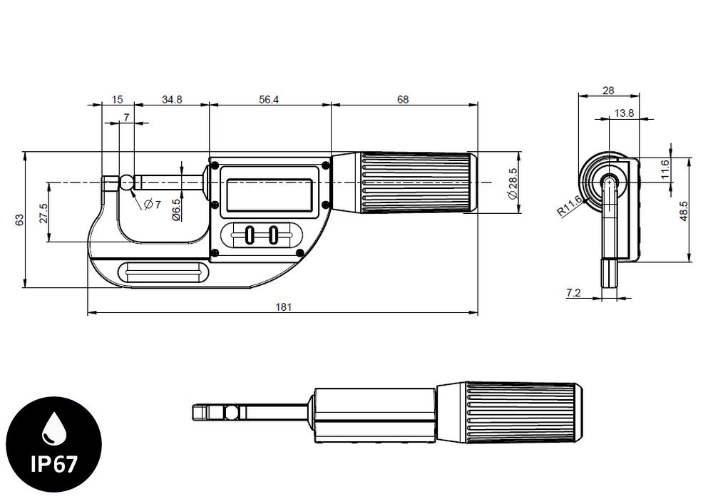 Micromètre professionnelle Sylvac modèle S_Mike Pro Touches plates Ø6,5 / sphérique Ø7