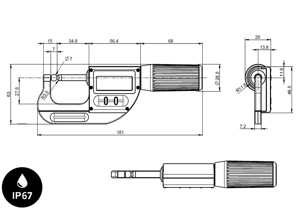 Micromètre professionnelle Sylvac modèle S_Mike Pro sphérique Ø7