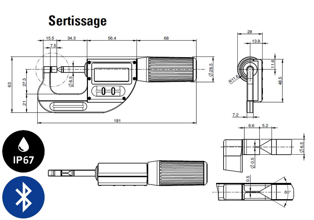 Micromètre professionnelle Sylvac modèle S_Mike Pro Touches couteaux / Cône
