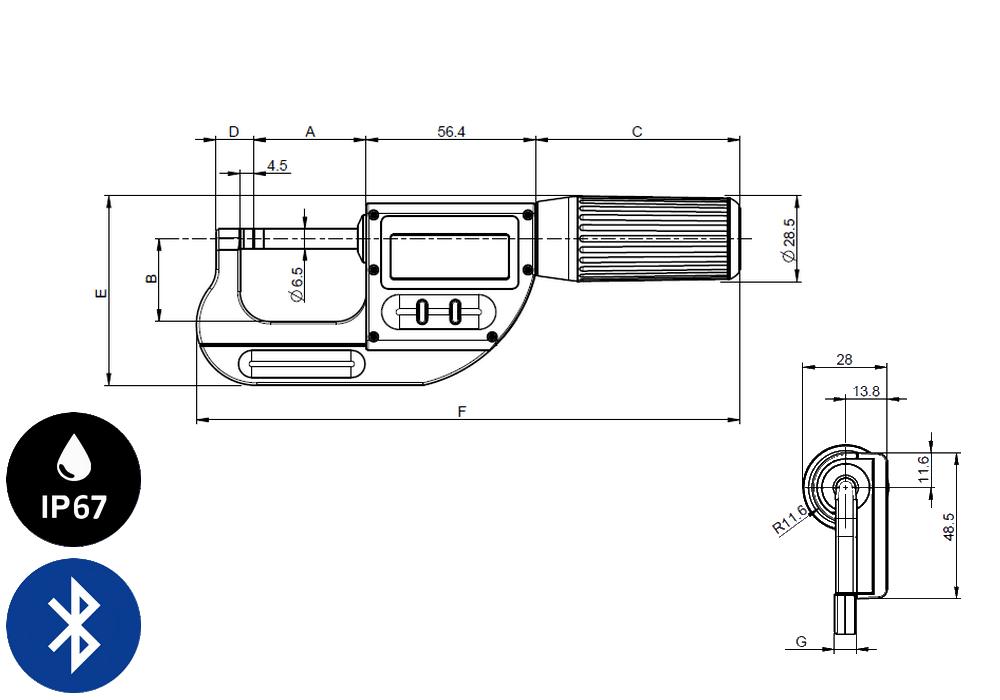 Micromètre professionnelle Sylvac modèle S_Mike Pro Cylindrique Ø6,5 Smart