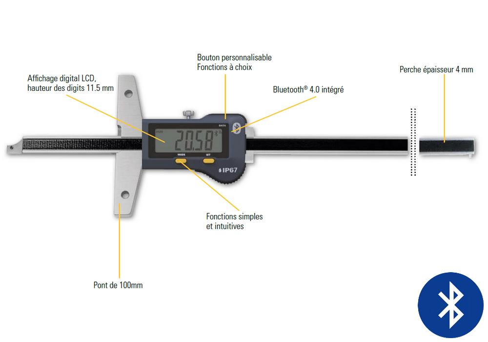 Jauge de profondeur Sylvac modèle S_Depth Evo shortcut measuring face