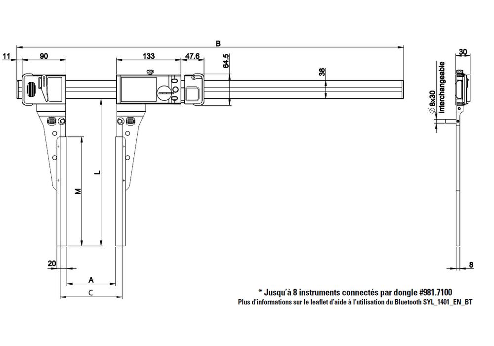 Pied à coulisse Sylvac ultra-léger UL4 exécutions spéciales becs spéciaux type A