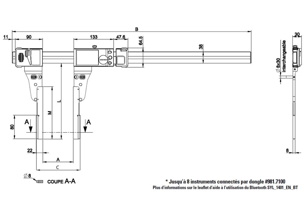 Pied à coulisse Sylvac ultra-léger UL4 exécutions spéciales becs spéciaux type C