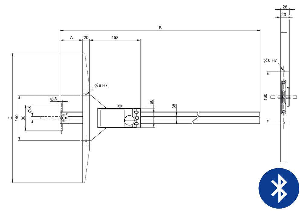 Jauge de profondeur ultra-légère Sylvac modèle UL V4