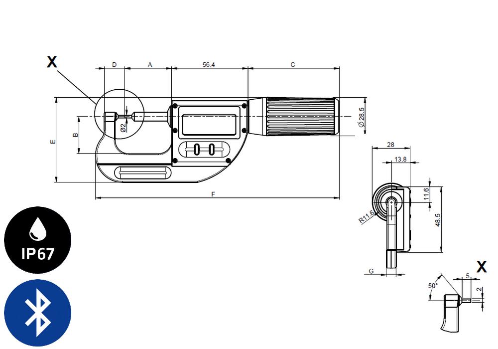 Micromètre professionnelle Sylvac modèle S_Mike Pro Cylindrique Ø2
