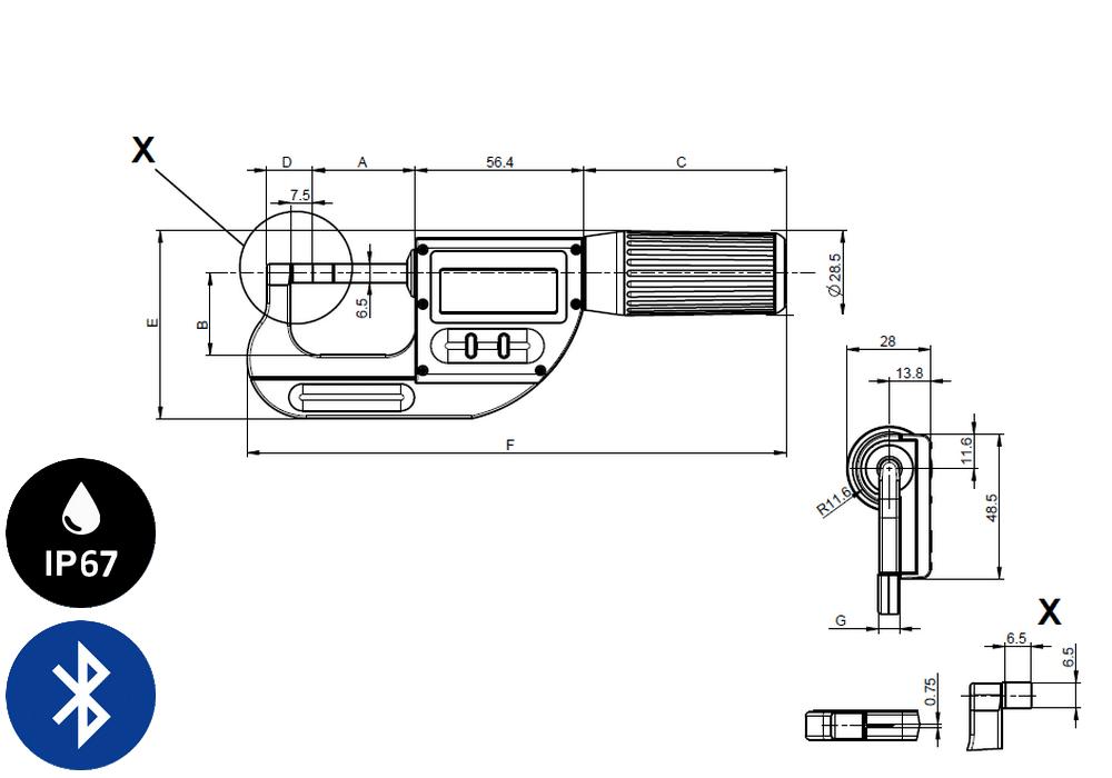 Micromètre professionnelle Sylvac modèle S_Mike Pro Touches-couteaux